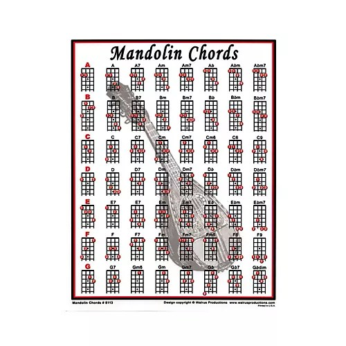 Walrus Productions Mandolin Chord Mini Chart Musician\u0027s Friend