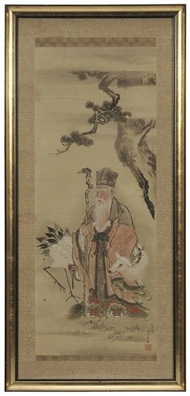 Chinese School, 19thCentury Standing Elder Holding a Staff with a