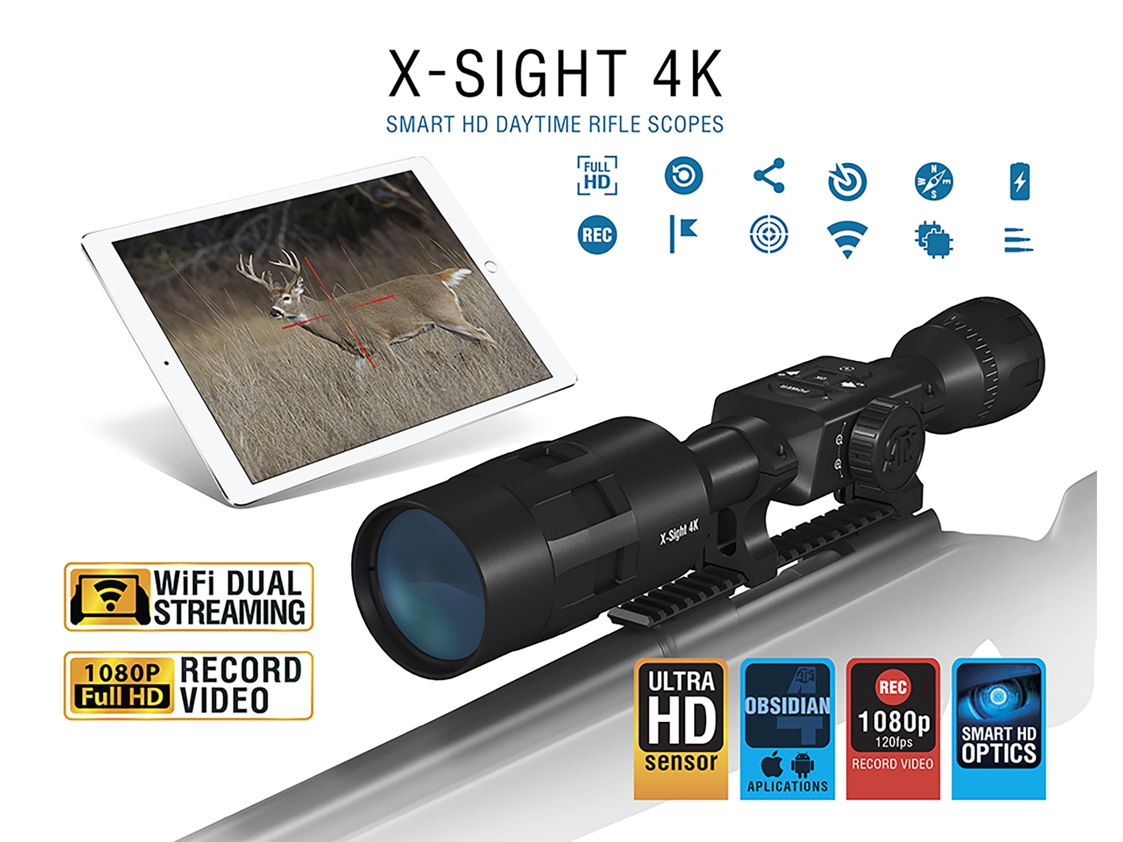 Atn X Sight 4k Buck Hunter Smart Hd Digital Day Time Rifle Scope 5 20x