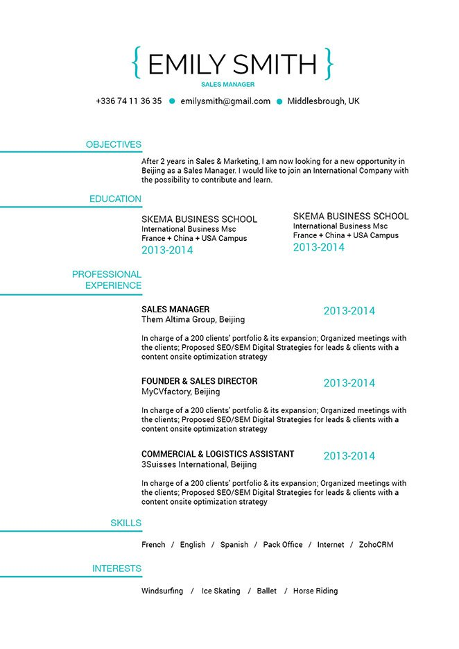 Good resume template Smily Resume · myCVfactory - Concise Resume Template