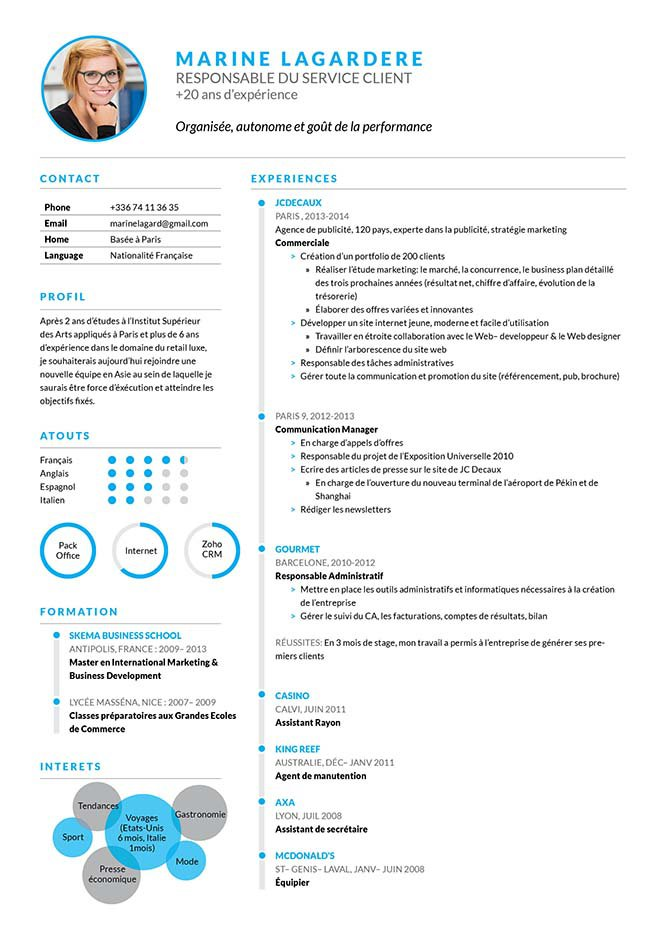 cv attache commercial gratuit