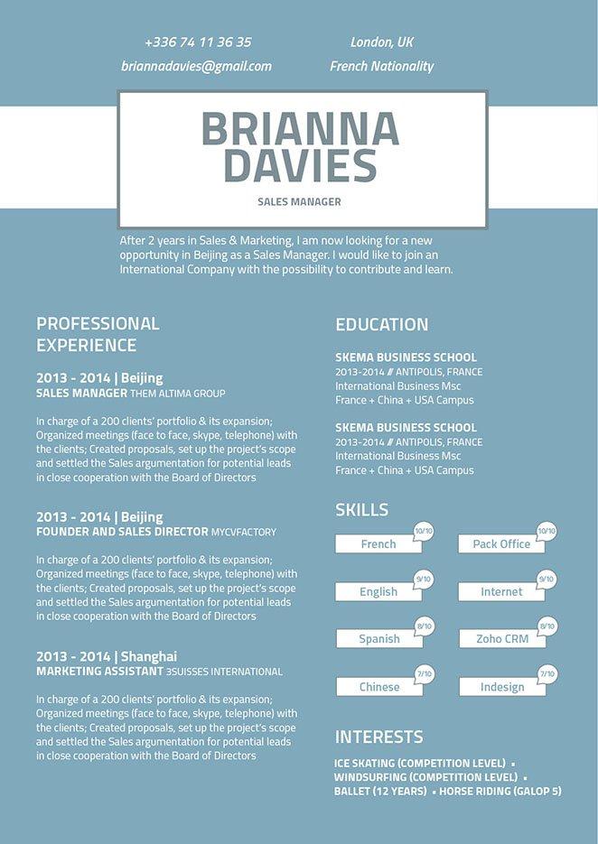 Resume design Discreet Resume · myCVfactory - modern resume design