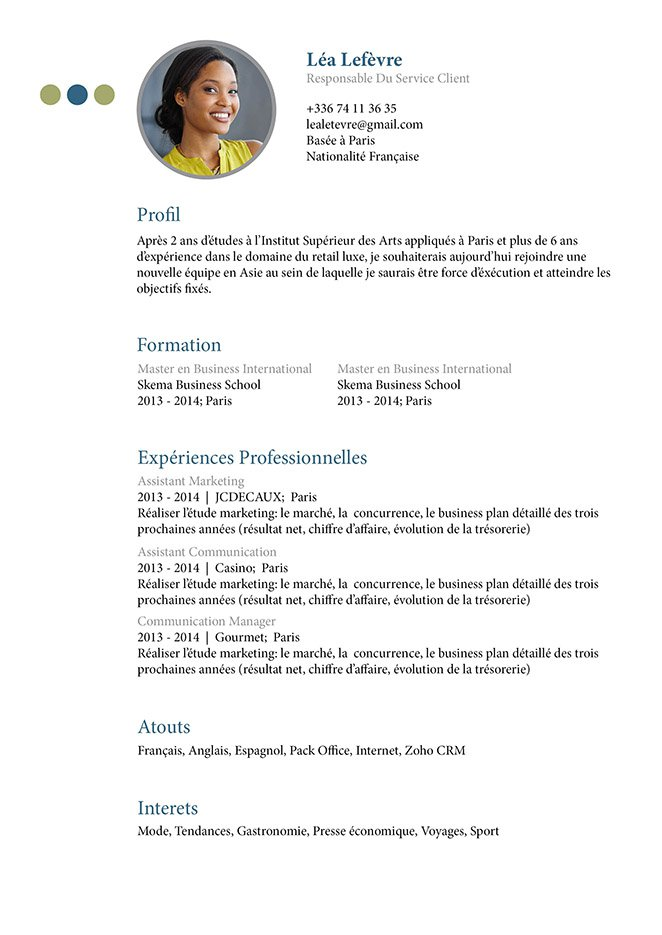 example of facebook candidats cv