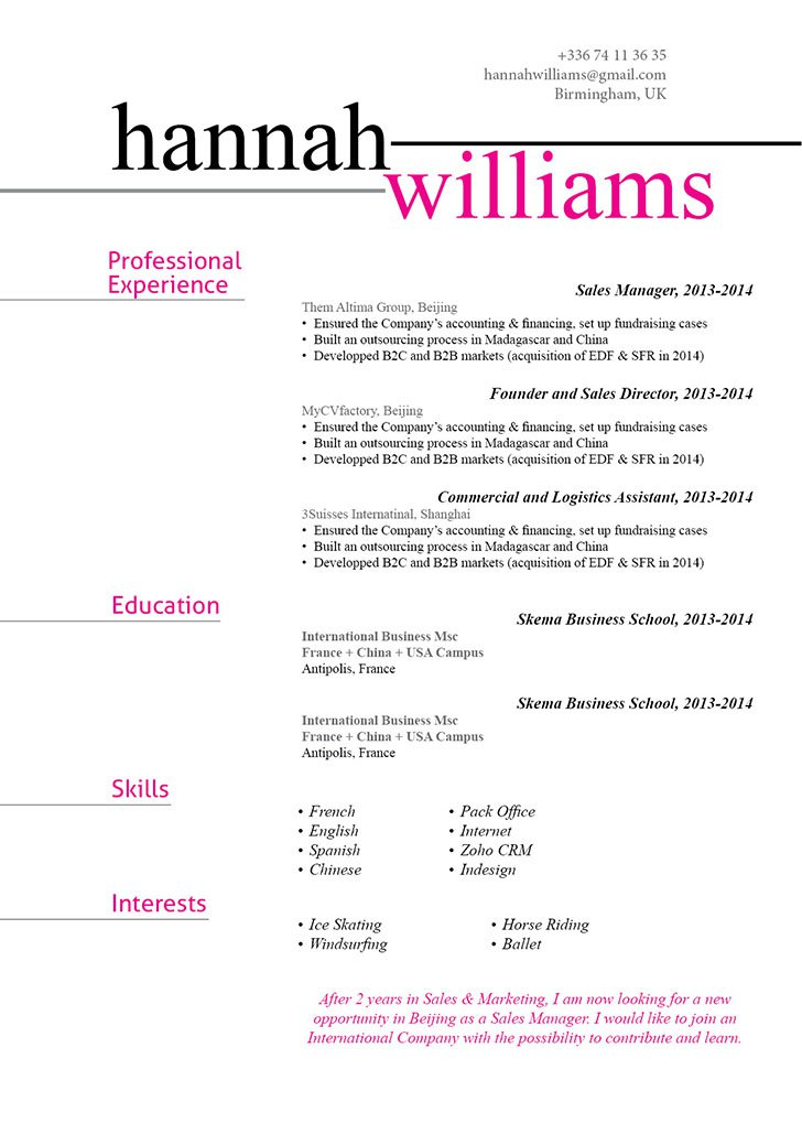 Functional Resume Template Linear Resume · myCVfactory - setting up a resume