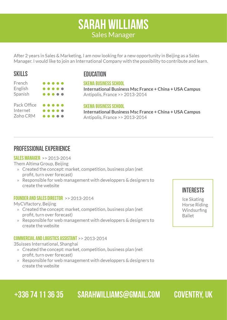 Simple Resume Format Kind Resume · myCVfactory
