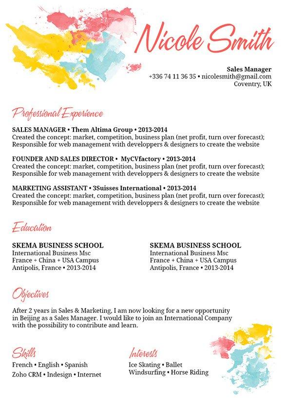 Resume templatePainter Resume · myCVfactory - Painter Resume