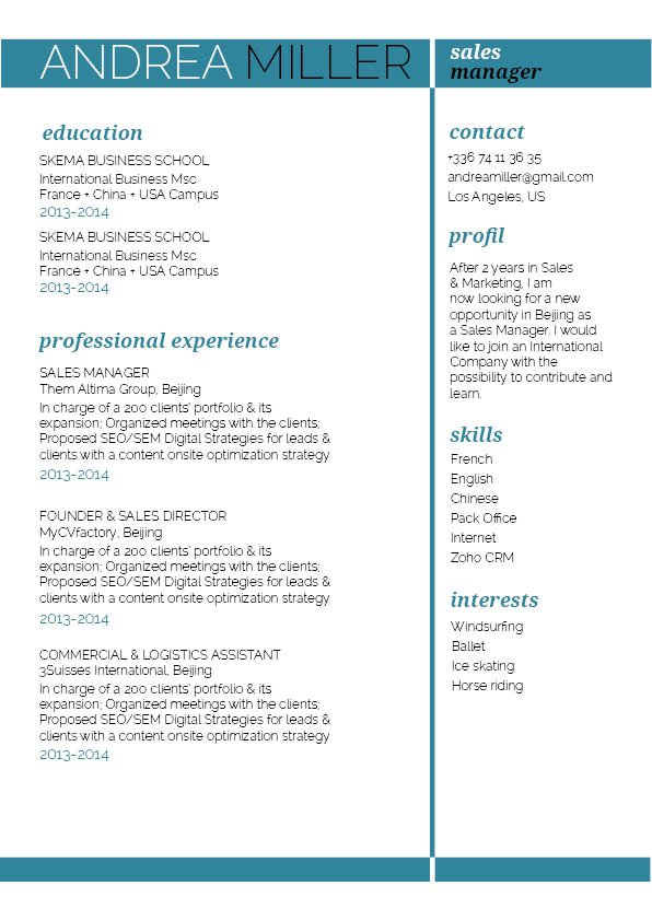 CV format Agility Resume · myCVfactory - best font for cv