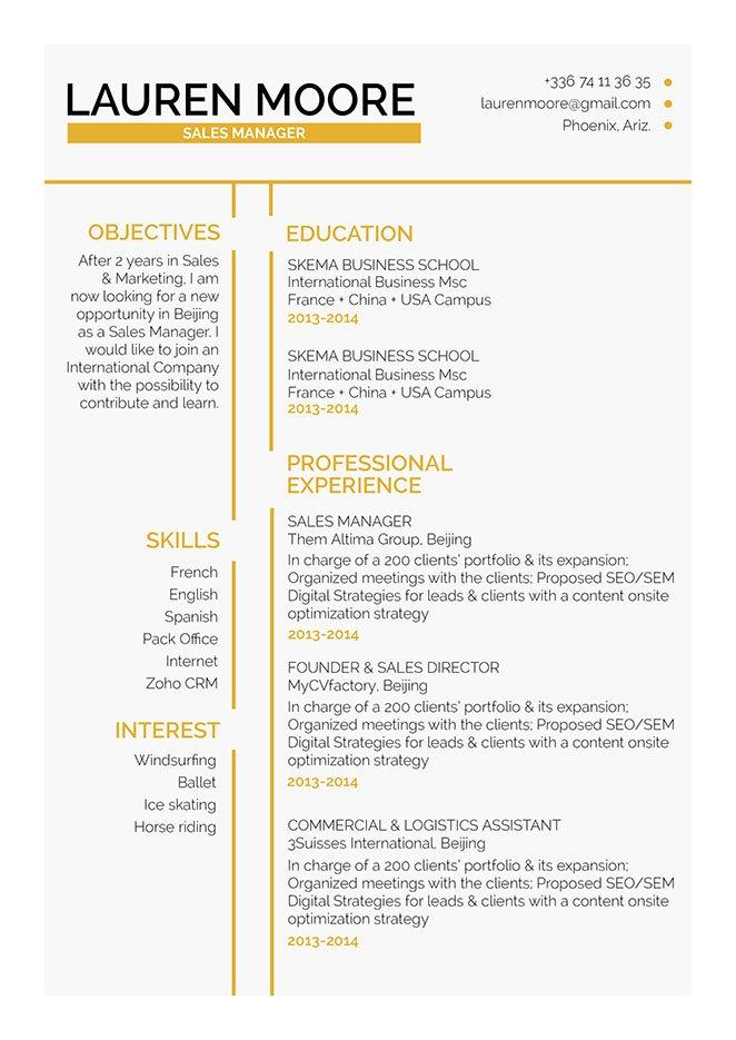 Standard resume format Lenient Resume · myCVfactory
