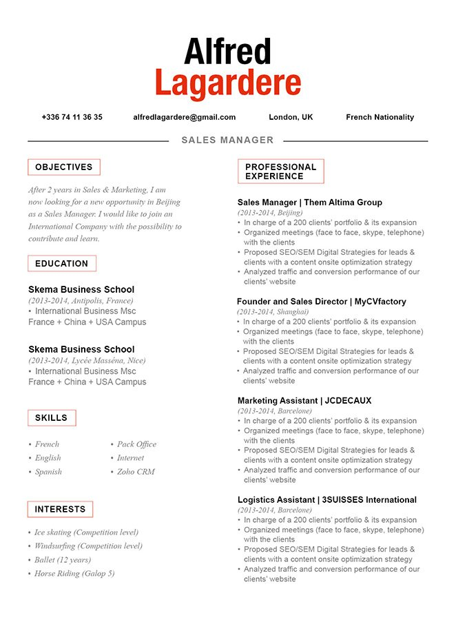 CV formatBalanced Resume · myCVfactory - great resume template