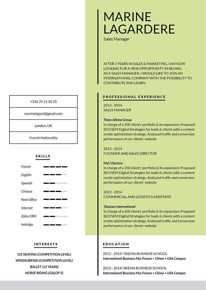 Simple resume format Genial Resume · myCVfactory