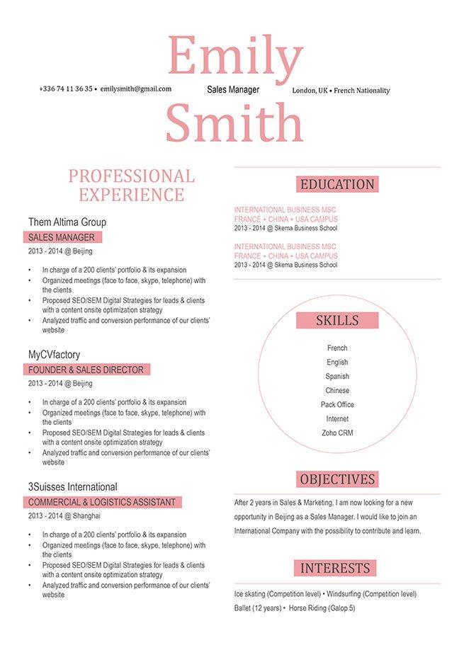 Simple resume format Influential Resume · myCVfactory - best simple resume format