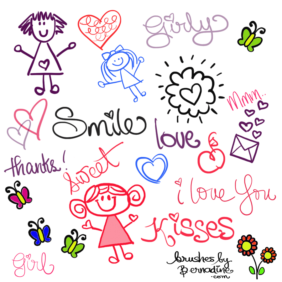Sweet Cute Wallpapers Of Flowers Cute Girly Doodle Brushes Photoshop Brushes