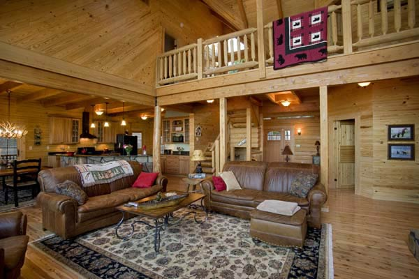 By the Wateru0027s Edge Lakeside Log Cabin - log cabin living rooms