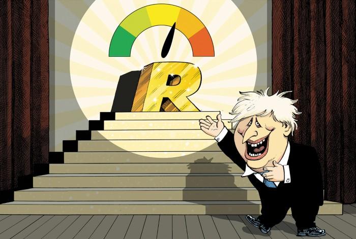 Caricatura de Boris Johnson presentando un dial colorido con una aguja apuntando a '1' mostrando el valor R.