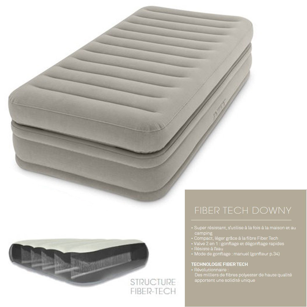 Lit électrique 1 Place Lit Gonflable Electrique Intex Twin Comfort Elevated Airbed 1 Place