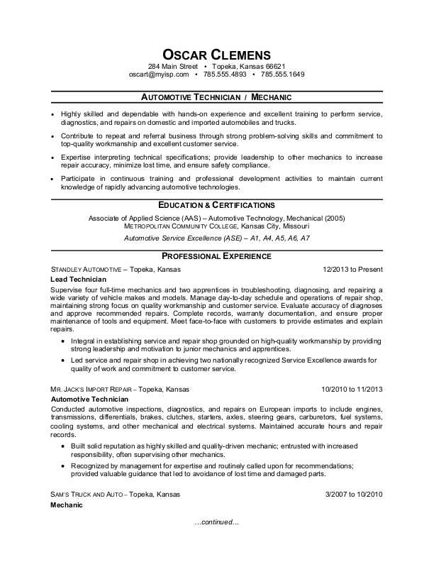 resume profile examples for mechanic
