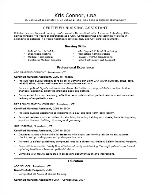 Resume For Cna Examples Strikingly Inpiration Cna Duties Resume Cna