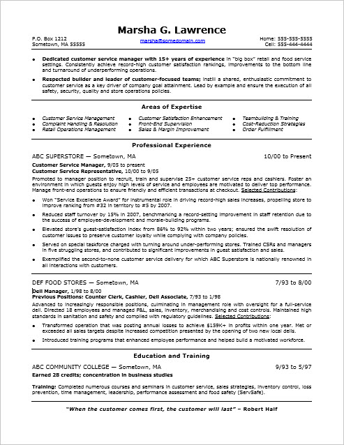 monster resume sample customer service