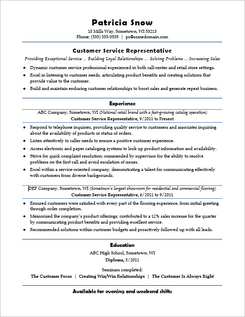 customer service representative bank resume 100 images