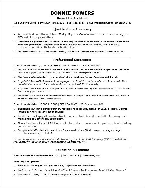 executive assistant resume sample monster