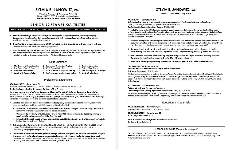 free sample resume qa tester