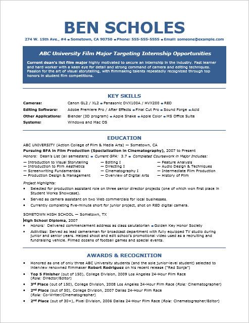 resume internship samples
