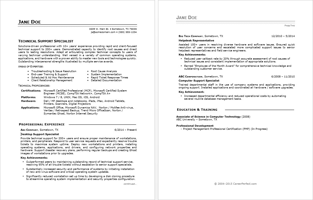 sample it service desk manager resume