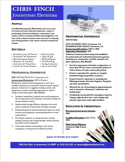 journeyman electrician resume sample electrician resume sample