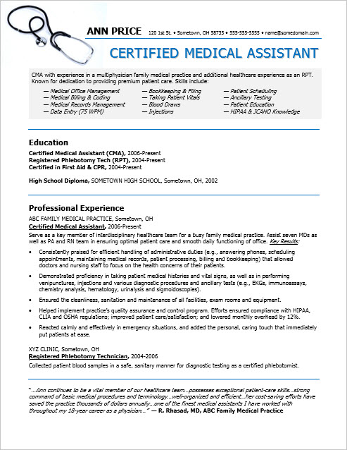 medical assistant and receptionist resume