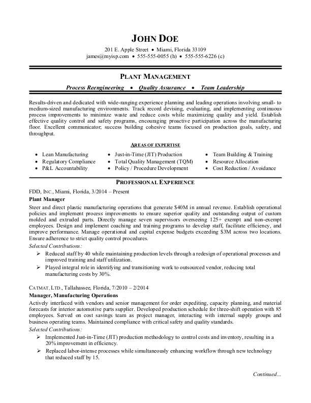 plant operations manager resume sample