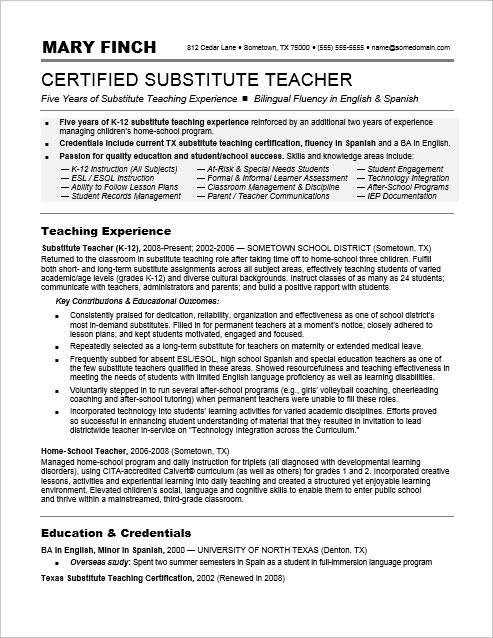 monster sample resume substitute teacher