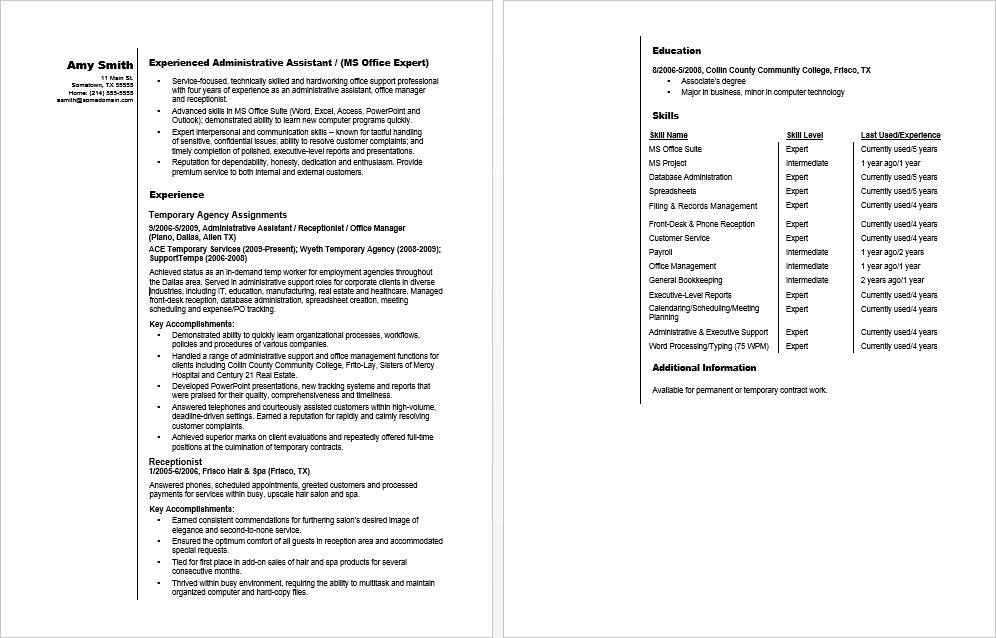 sample resume temp