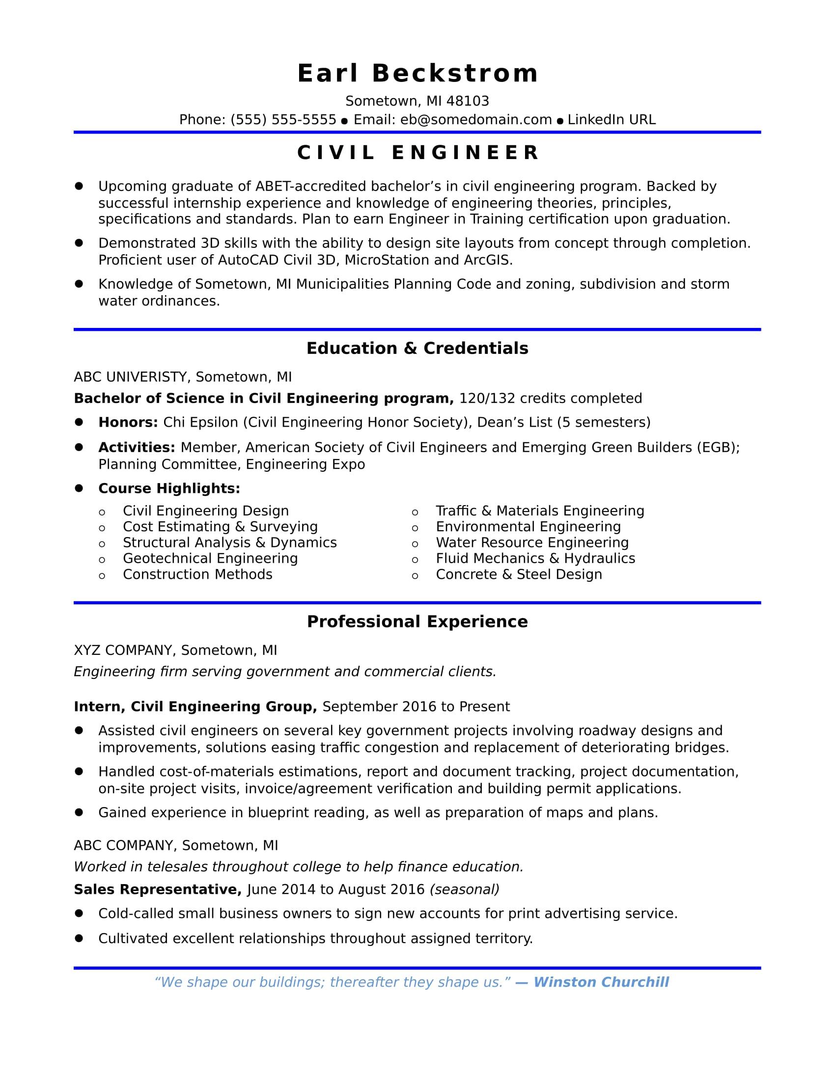Sample Resume For An Entry Level Civil Engineer Monstercom