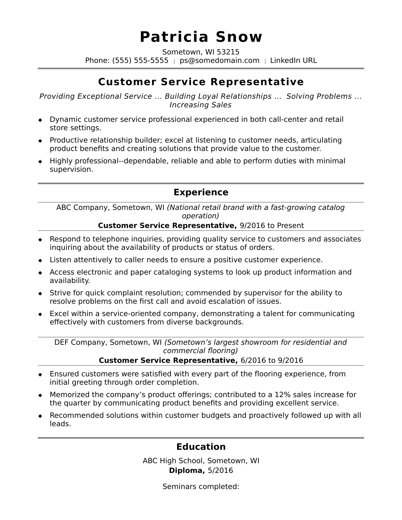 view sample resume for customer service specialist