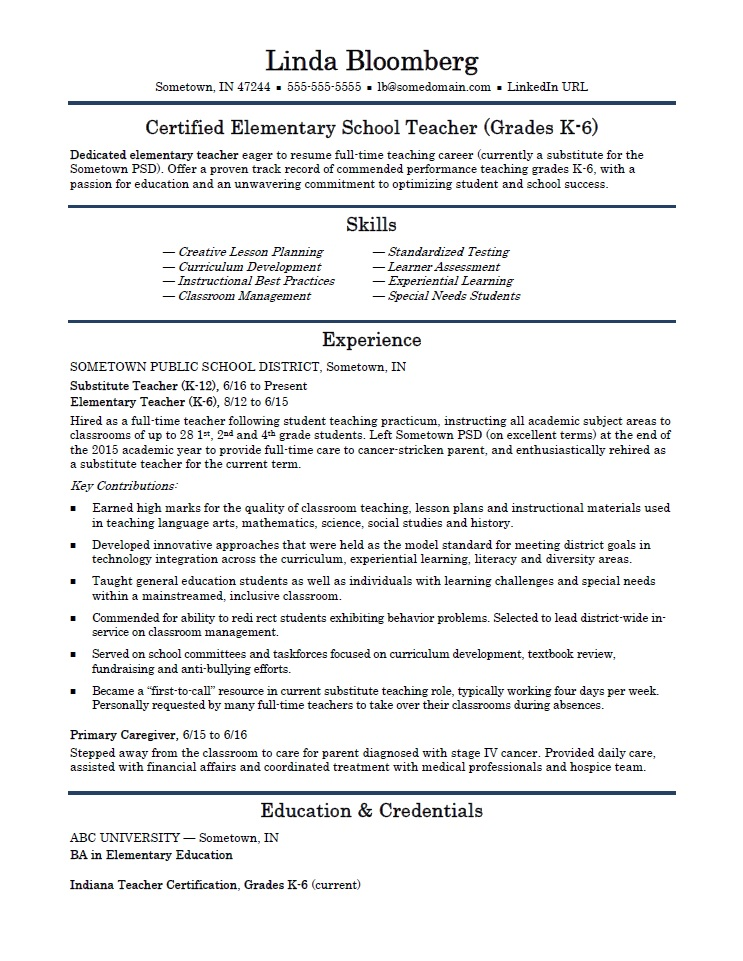 examples of current teaching resumes