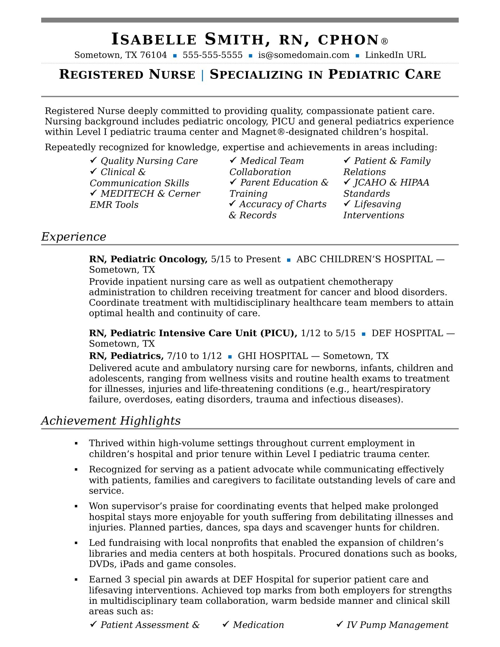 sample ward nurse resume