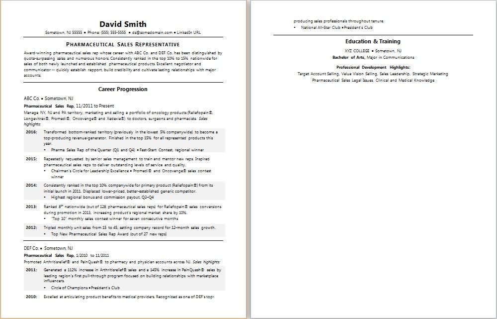pharma rep resume sample