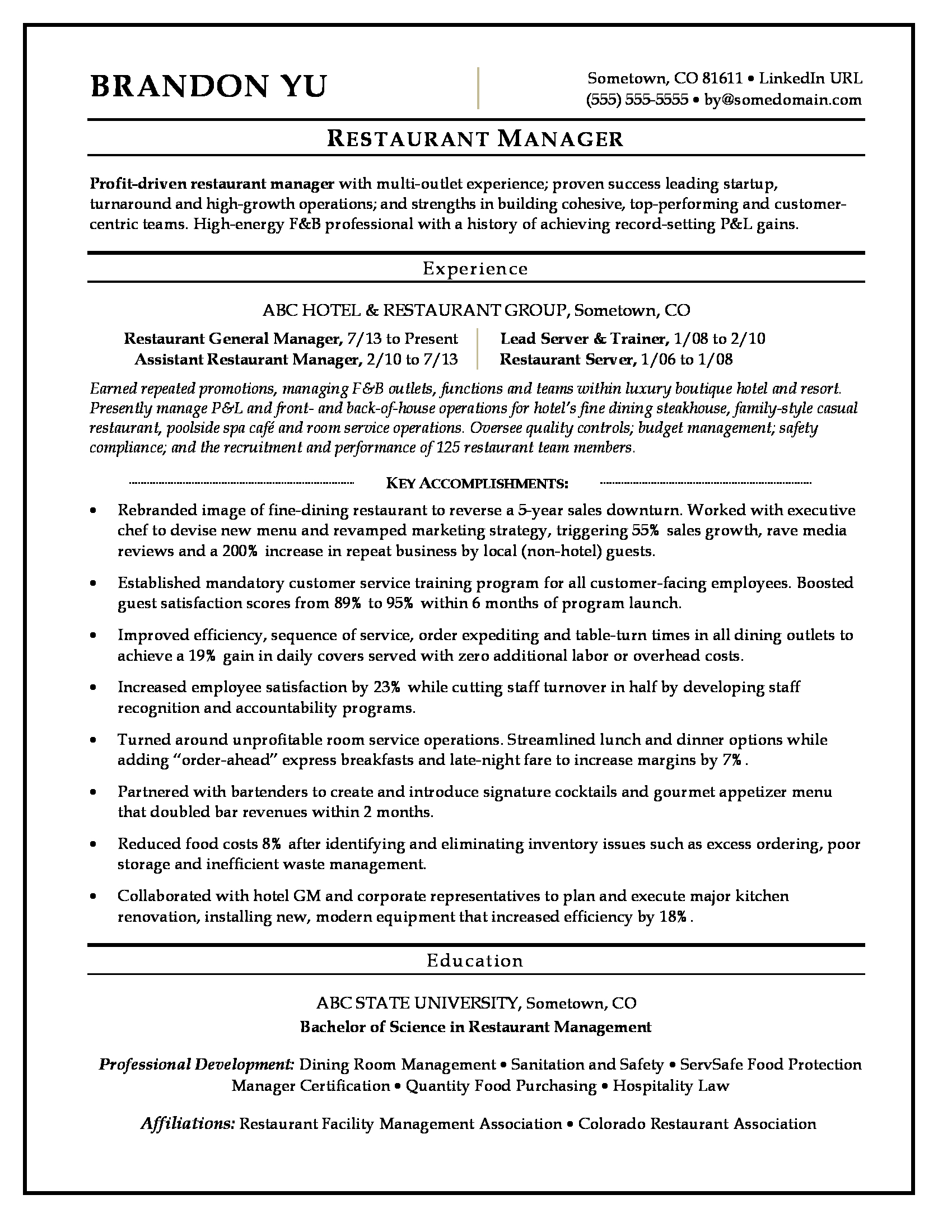 sample resume for restaurant hospitality