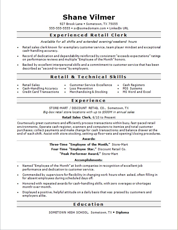 sales clerk resume sample