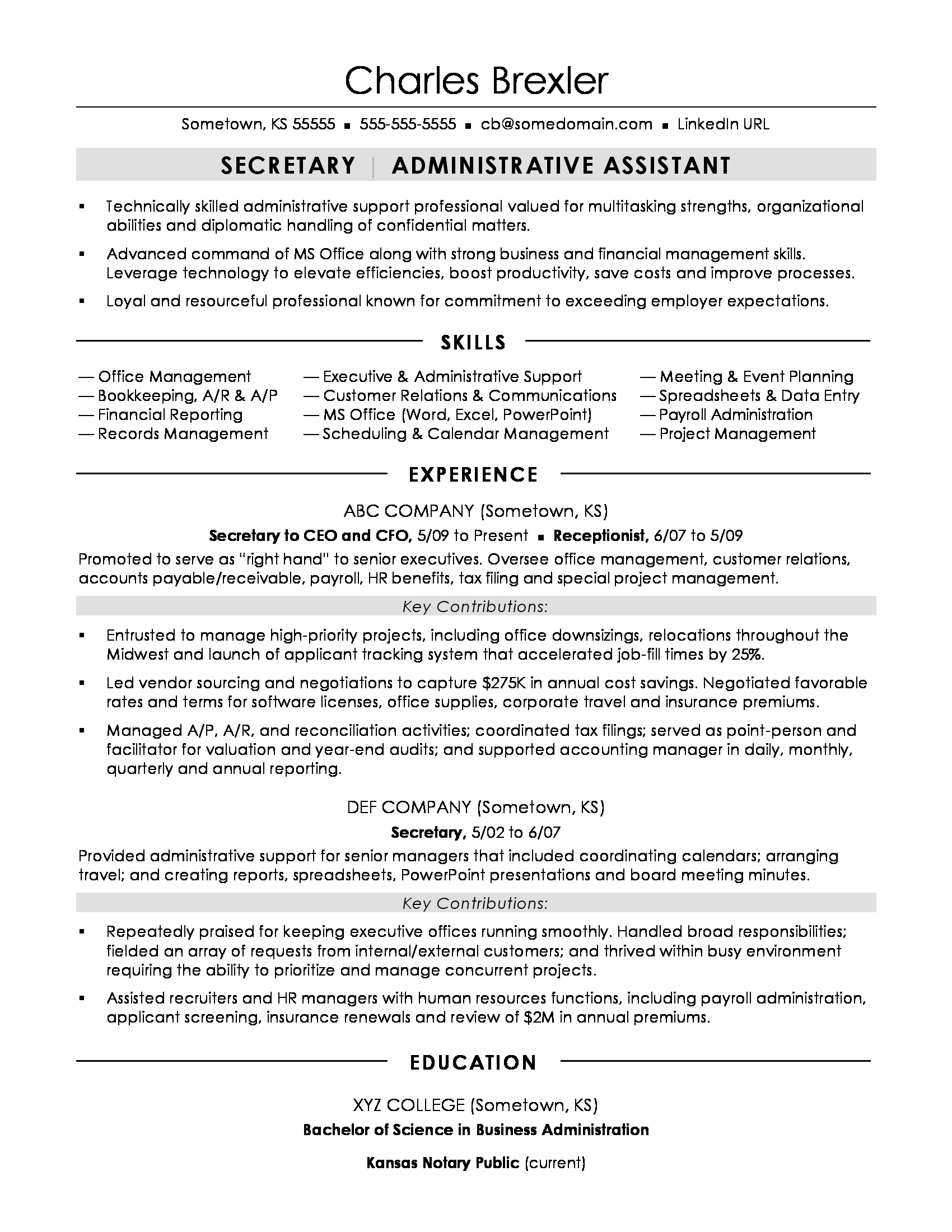 example of cv in english secretary
