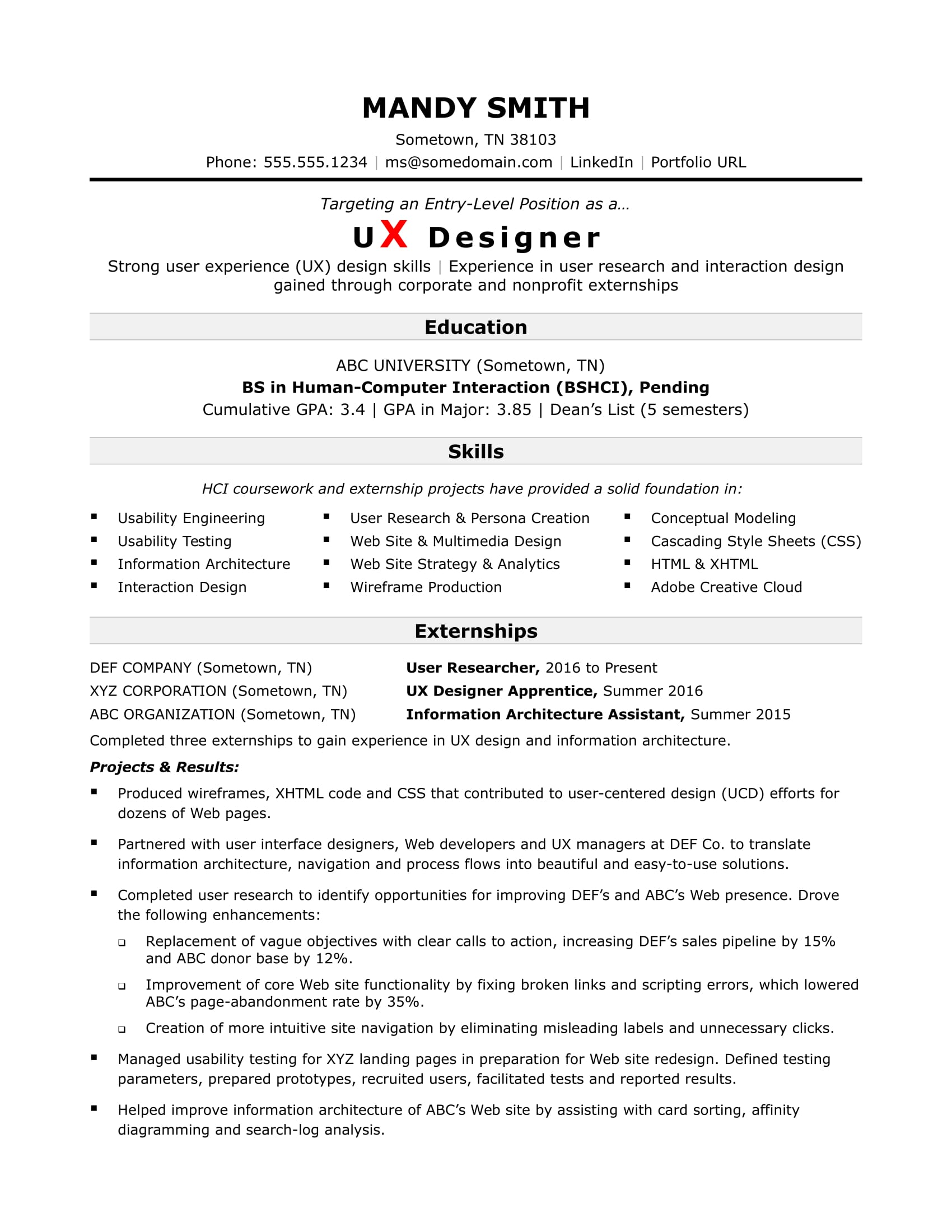 sample resume for entry level web designer