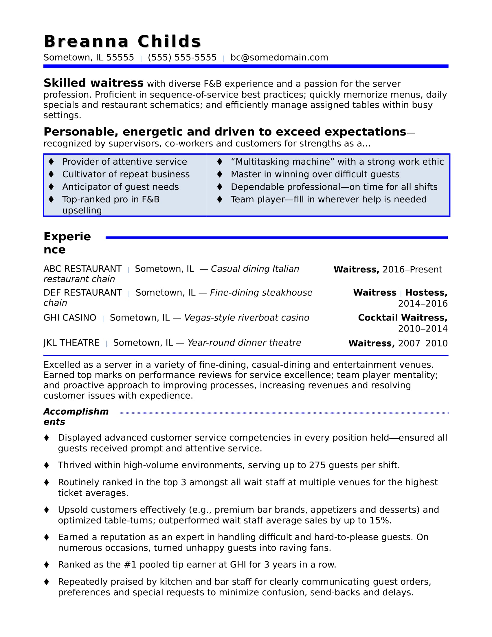 resume work experience waitress examples