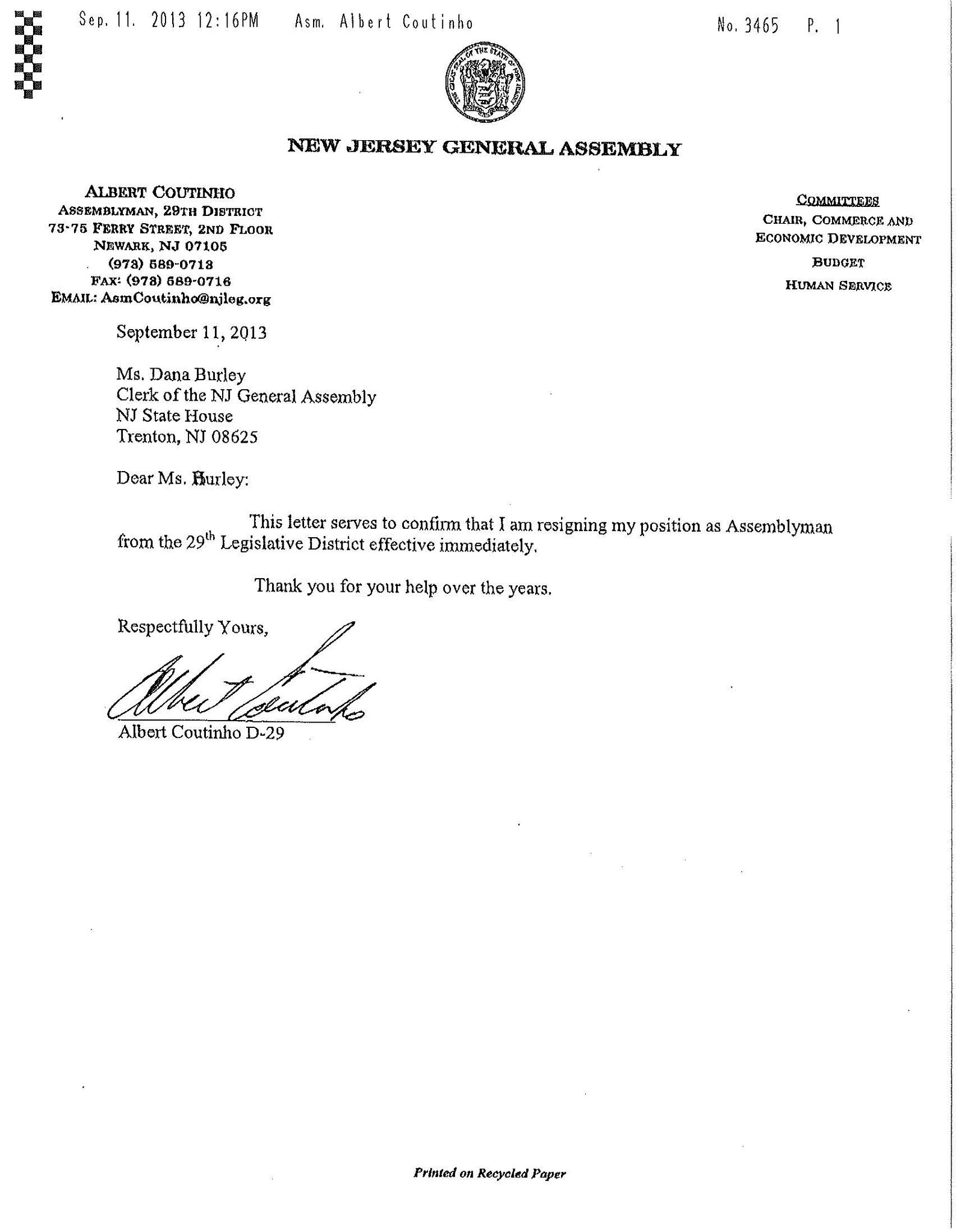 Sample Resignation Letter With Reason Effective Immediately Coutinho Resigns Abruptly From Assembly Amid Probe; Dems