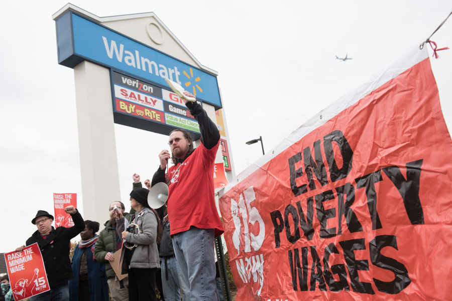 Protesters demand $15 minimum wage outside Kearny Walmart - Newark