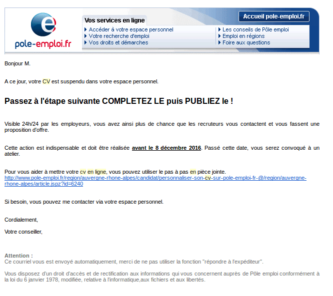 comment faire son cv pole emploi