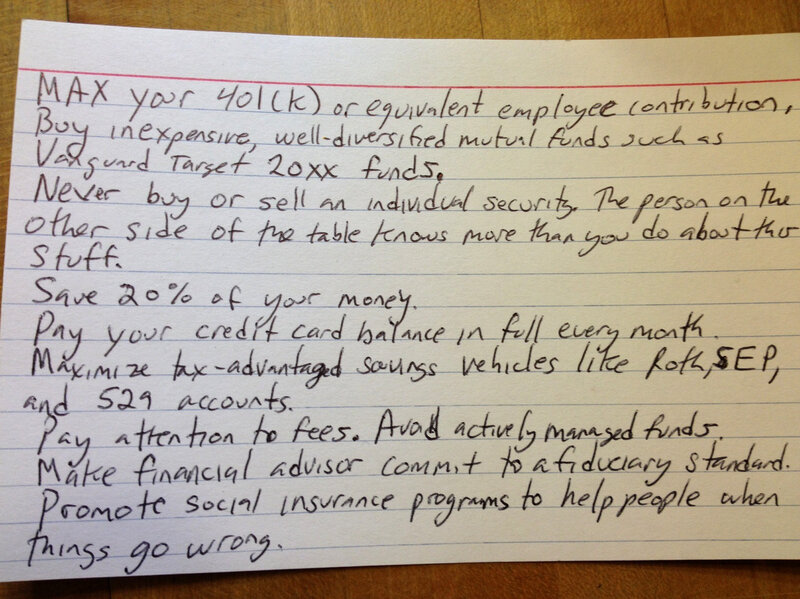 Can The Best Financial Tips Fit On An Index Card?  All Tech