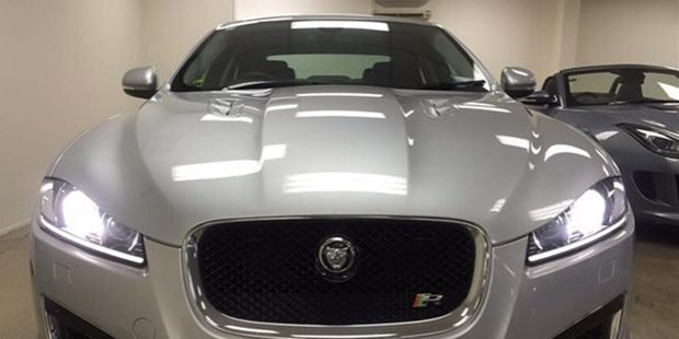 The Jaguar XFR that was stolen from Beacham Motors in Penrose, Auckland. Photo / Supplied