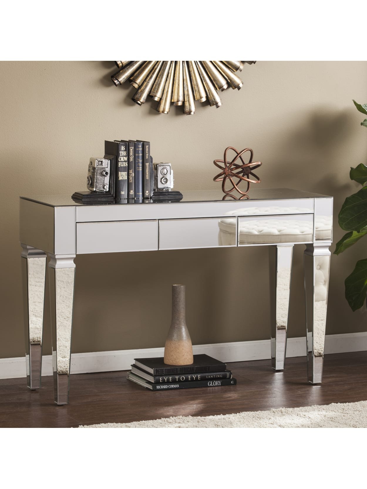 Southern Enterprises Darien Contemporary Mirrored Console Table Rectangular Matte Silvermaroon Office Depot
