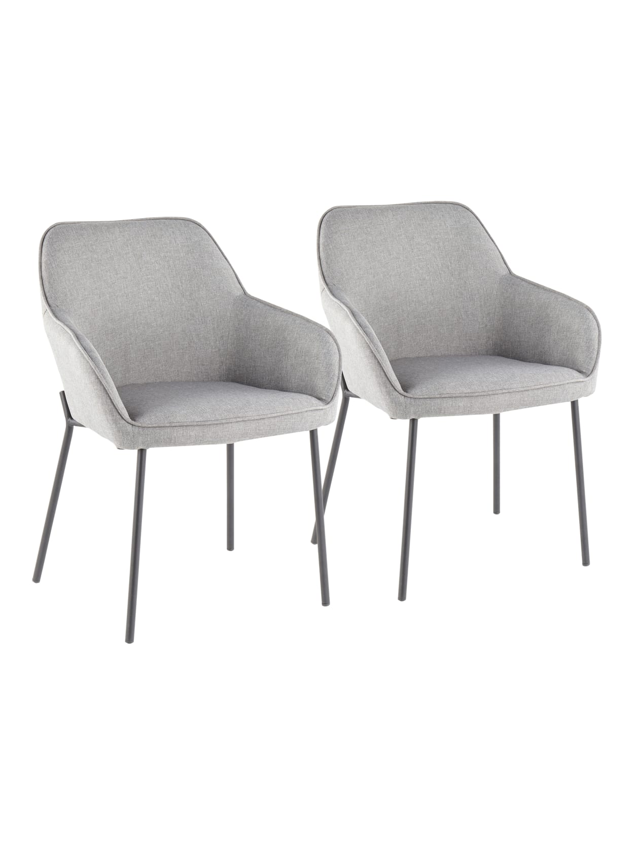 LumiSource Daniella Chairs BlackGray 2PK - Office Depot