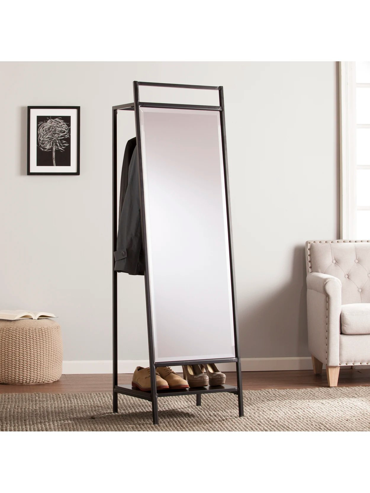 Southern Enterprises Drake Mirror With Hidden Coat Rack 65 H X 19 34 W X 16 34 D Black Office Depot